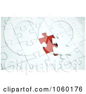 Royalty Free CGI Clip Art Illustration Of A 3d Nearly Completed Puzzle