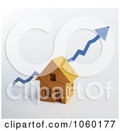 Royalty Free CGI Clip Art Illustration Of A 3d Blue Arrow Over A House