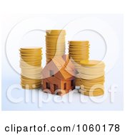 Royalty Free CGI Clip Art Illustration Of A 3d Wood House And Coins