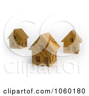 Royalty Free CGI Clip Art Illustration Of 3d Wooden Houses