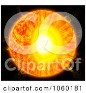 Royalty Free CGI Clip Art Illustration Of A 3d Sun Cross Section