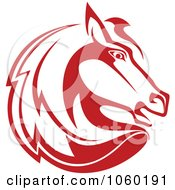 Royalty Free Vector Clip Art Illustration Of A Red Horse Head Logo 2