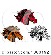 Royalty Free Vector Clip Art Illustration Of A Digital Collage Of Horse Head Logos 7
