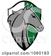Royalty Free Vector Clip Art Illustration Of A Horse Head Over A Green And White Shield