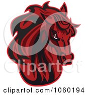 Royalty Free Vector Clip Art Illustration Of A Red Horse Head Logo 5