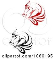 Royalty Free Vector Clip Art Illustration Of A Digital Collage Of Horse Head Logos 1