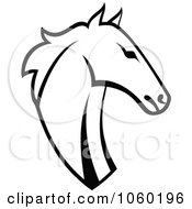Royalty Free Vector Clip Art Illustration Of A Black And White Horse Head Logo 5 by Vector Tradition SM #COLLC1060196-0169
