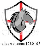 Royalty Free Vector Clip Art Illustration Of A Horse Head Over A Red And White Shield