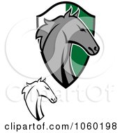 Royalty Free Vector Clip Art Illustration Of A Digital Collage Of Horse Heads And A Shield 1