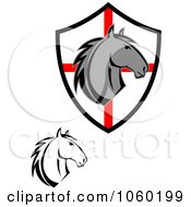 Royalty Free Vector Clip Art Illustration Of A Digital Collage Of Horse Heads And A Shield 2