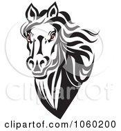 Royalty Free Vector Clip Art Illustration Of A Red Eyed Horse Head Logo 5