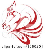 Royalty Free Vector Clip Art Illustration Of A Red Horse Head Logo 1