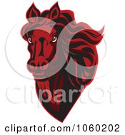 Royalty Free Vector Clip Art Illustration Of A Red Horse Head Logo 10
