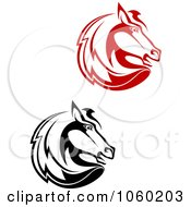 Royalty Free Vector Clip Art Illustration Of A Digital Collage Of Horse Head Logos 2