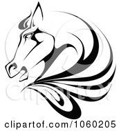 Royalty Free Vector Clip Art Illustration Of A Black And White Horse Head Logo 1