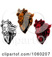 Royalty Free Vector Clip Art Illustration Of A Digital Collage Of Horse Head Logos 6