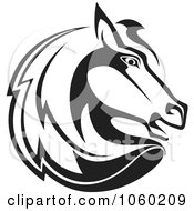 Royalty Free Vector Clip Art Illustration Of A Black And White Horse Head Logo 2
