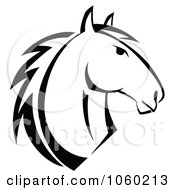 Royalty Free Vector Clip Art Illustration Of A Black And White Horse Head Logo 6