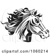 Royalty Free Vector Clip Art Illustration Of A Black And White Horse Head Logo 7
