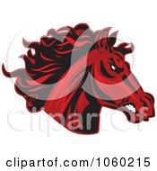 Royalty Free Vector Clip Art Illustration Of A Red Horse Head Logo 6