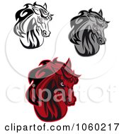 Royalty Free Vector Clip Art Illustration Of A Digital Collage Of Horse Head Logos 5