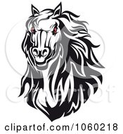 Royalty Free Vector Clip Art Illustration Of A Red Eyed Horse Head Logo 4