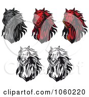 Royalty Free Vector Clip Art Illustration Of A Digital Collage Of Horse Head Logos 9