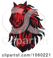Royalty Free Vector Clip Art Illustration Of A Red Horse Head Logo 8