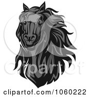 Royalty Free Vector Clip Art Illustration Of A Gray Horse Head Logo 3