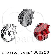 Royalty Free Vector Clip Art Illustration Of A Digital Collage Of Horse Head Logos 8