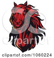 Royalty Free Vector Clip Art Illustration Of A Red Horse Head Logo 9