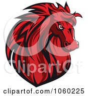 Royalty Free Vector Clip Art Illustration Of A Red Horse Head Logo 7