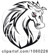 Royalty Free Vector Clip Art Illustration Of A Red Eyed Horse Head Logo 1