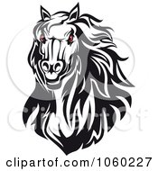 Royalty Free Vector Clip Art Illustration Of A Red Eyed Horse Head Logo 3