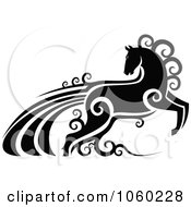 Royalty Free Vector Clip Art Illustration Of An Ornate Black And White Horse With Swirls 2