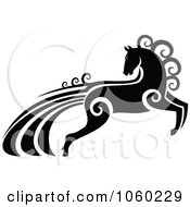 Royalty Free Vector Clip Art Illustration Of An Ornate Black And White Horse With Swirls 1