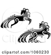 Royalty Free Vector Clip Art Illustration Of A Digital Collage Of Ornate Black And White Horses With Swirls