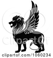 Royalty Free Vector Clip Art Illustration Of A Black And White Winged Lion Logo 1