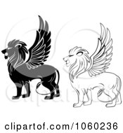 Digital Collage Of Black And White Winged Lion Logos
