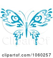 Royalty Free Vector Clip Art Illustration Of A Blue Butterfly Logo 7 by Vector Tradition SM