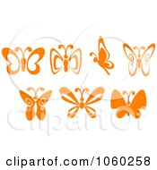Royalty Free Vector Clip Art Illustration Of A Digital Collage Of Orange Butterfly Logos
