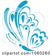 Royalty Free Vector Clip Art Illustration Of A Blue Butterfly Logo 6