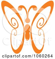Royalty Free Vector Clip Art Illustration Of An Orange Butterfly Logo 4