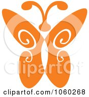 Royalty Free Vector Clip Art Illustration Of An Orange Butterfly Logo 5