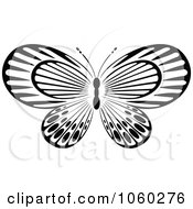 Royalty Free Vector Clip Art Illustration Of A Black And White Butterfly Logo 11
