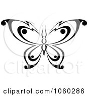 Royalty Free Vector Clip Art Illustration Of A Black And White Butterfly Logo 19