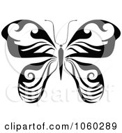 Royalty Free Vector Clip Art Illustration Of A Black And White Butterfly Logo 18