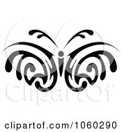 Royalty Free Vector Clip Art Illustration Of A Black And White Butterfly Logo 2