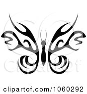 Royalty Free Vector Clip Art Illustration Of A Black And White Butterfly Logo 1