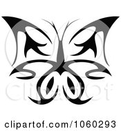 Royalty Free Vector Clip Art Illustration Of A Black And White Butterfly Logo 5